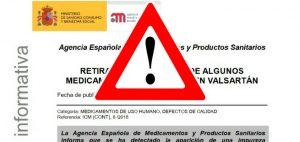 Sustitución en farmacias de los medicamentos con principio activo valsartán afectados por la alerta de la AEMPS