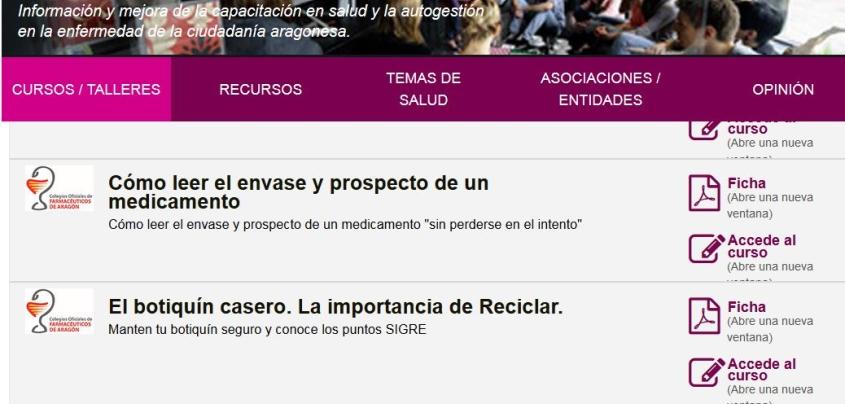 Los Farmacéuticos elaboran tres cursos on line para la Escuela de Salud del Gobierno de Aragón a través de la web www.saludinforma.es