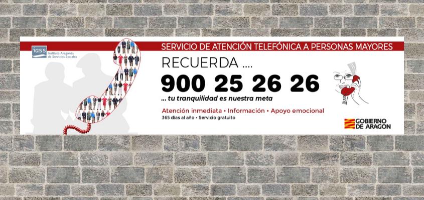 Las farmacias de Aragón colaboran en la difusión del Servicio gratuito de Atención Telefónica a personas mayores (900 25 26 26)