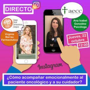 22 de octubre: Directo en Instagram «¿Cómo acompañar emocionalmente al paciente oncológico y a su cuidador?»