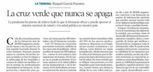 Heraldo de Aragón: «La cruz verde que nunca se apaga». Tribuna de la presidenta del Consejo de Colegios de Farmacéuticos de Aragón, Raquel García.